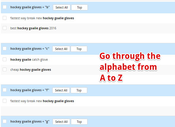 Alphabet technique using Jaaxy