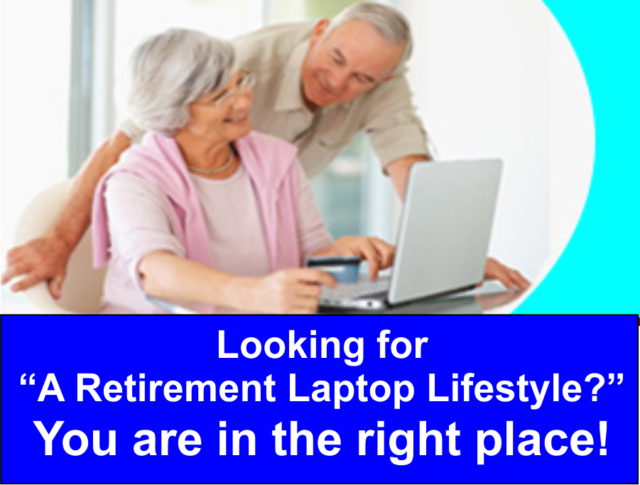 Senior man and woman with a laptop