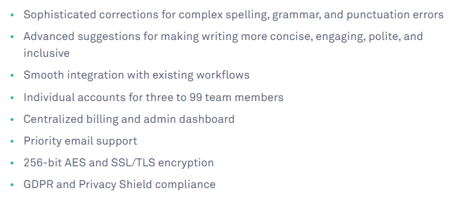 Grammarly Business Features